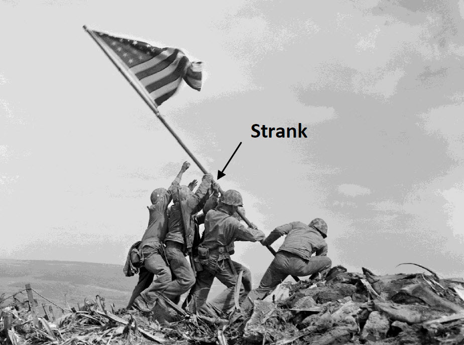 Marine Corps Sgt Michael Strank is an example of Ukrainian American Military Service.  Strank is pictured helping raise the American flag at Iwo Jima.